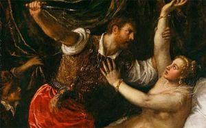 Detalle de El Rapto de Lucrecia, de Tiziano.