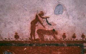 Fragmento del mural en la Tumba de los Toros