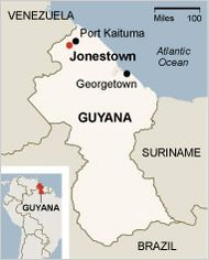 Mapa de Guyana, Jonestown