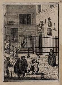 El Menneken Pis en un grabado de 1697