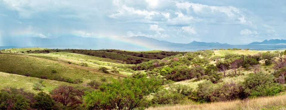 Cienega Watershed panorama with rainbow