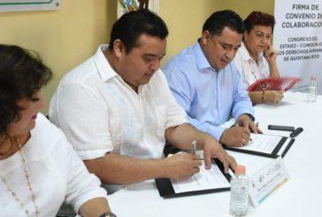 Firman Congreso y CDHEQROO convenio de colaboración