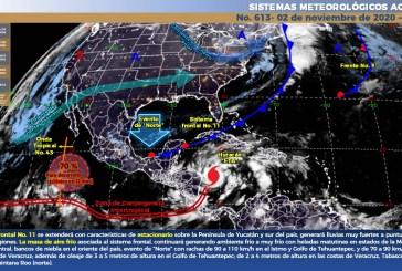 Lluvias muy fuertes a intensas en el sur y sureste de México