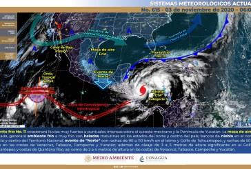Lluvias muy fuertes a puntuales intensas en el sureste de México y la Península de Yucatán