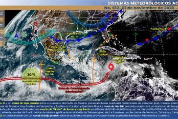 Lluvias fuertes con lluvias puntuales muy fuertes (50 a 75 mm) en Campeche y Quintana Roo: SMN