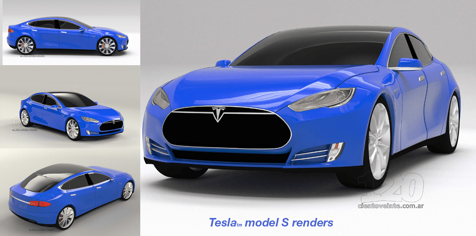 3D CAD photorealistic renders of the Tesla S, in their brand blue for the Aguri Team (Formula E).