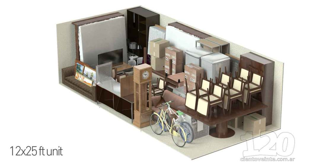 Storage units 12x25 3D CAD render
