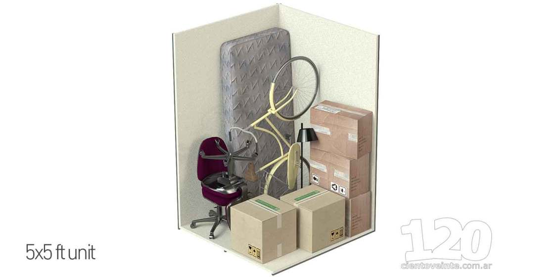 Storage units 5x5 3D CAD render