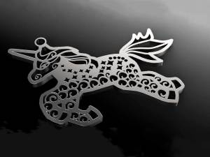 Unicorn silver charm designed with Dollie Jewellery in the UK