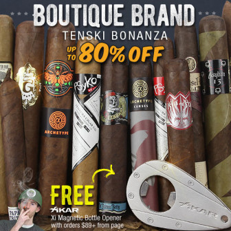 HORN O' PLENTY BOUTIQUE 10-PACK MADNESS + XIKAR FREEBIE OPTION…..free Xikar Stainless Bottle Opener, 100 boutique vitolas, savings to 80% off