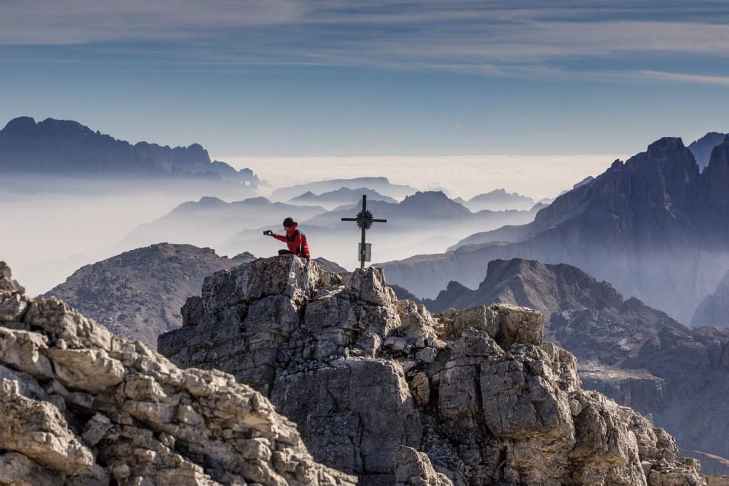 photographer, peaks, mountains