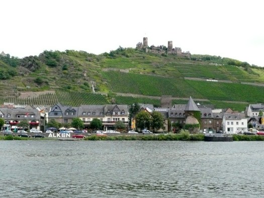 Mosel vineyard, castle and village, Germany