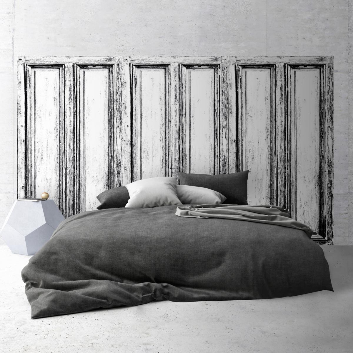 tete de lit effet de matiere panneau en bois noir et blanc