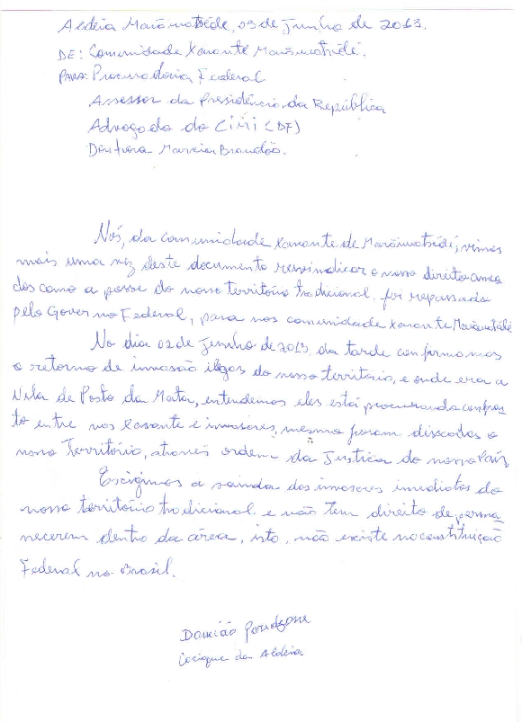 Carta do cacique Damião Paradzane