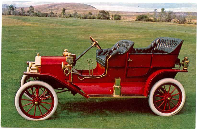 Cimorelli s Model T Digital Library  1909  Image of a red 1909 Ford Model T Touring two lever highlighting the 1909  section