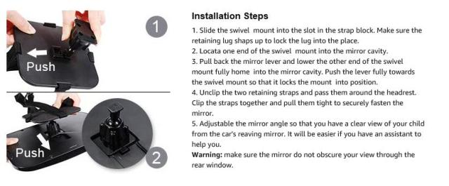 installation steps - Baby Car Mirror, Shatter-Proof Acrylic Baby Mirror for Car, Rearview Baby Mirror-Easily to Observe the Baby's Every Move Safety and 360 Degree Adjustability