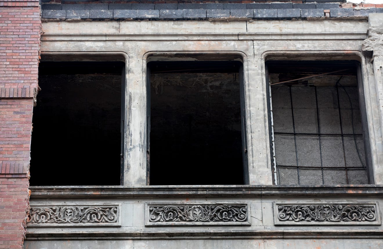 Brick Removal on Downtown Cincinnati Building Reveals Victorian-era Storefront