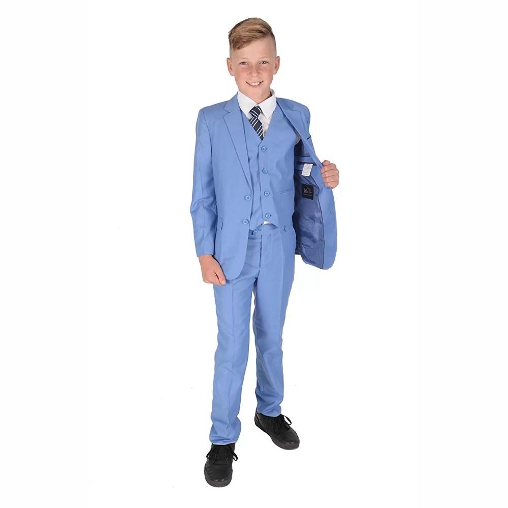 5 Piece Light Blue Boy Suits Boys Wedding Suit Page Boy Party Prom