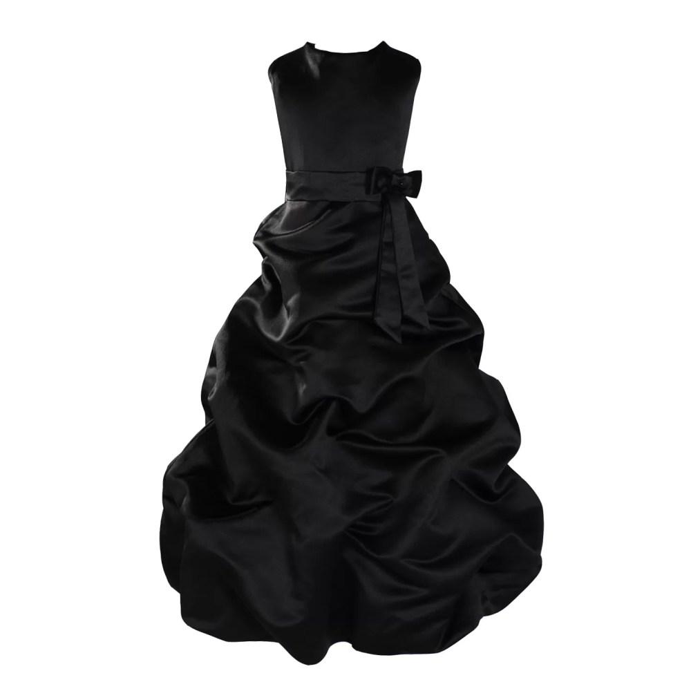 Black Satin Flower Girl Dress Bridesmaid Dress