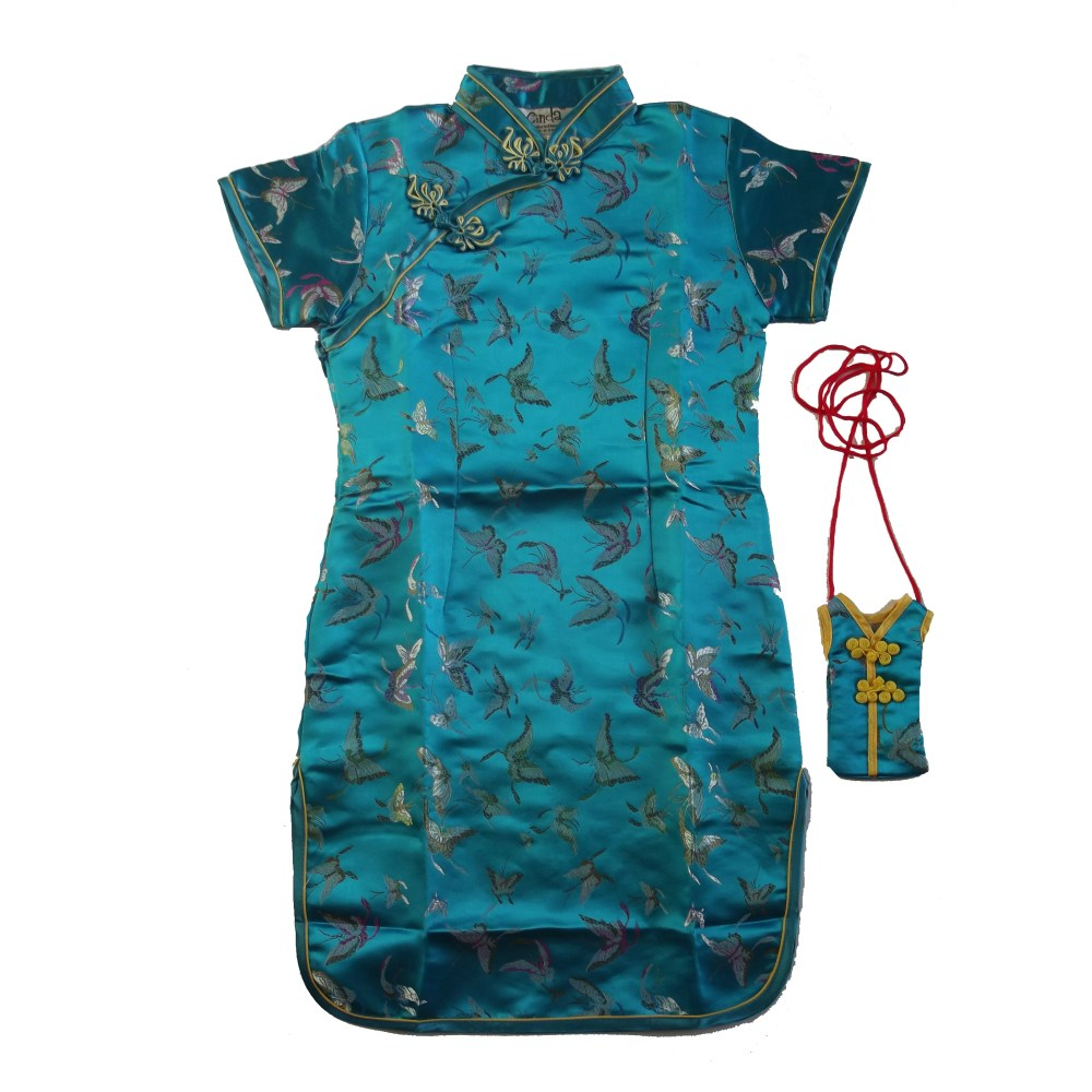 Girls Turquiose Oriental Chinese Dress Qipao Cheongsam with Purse Butterfly