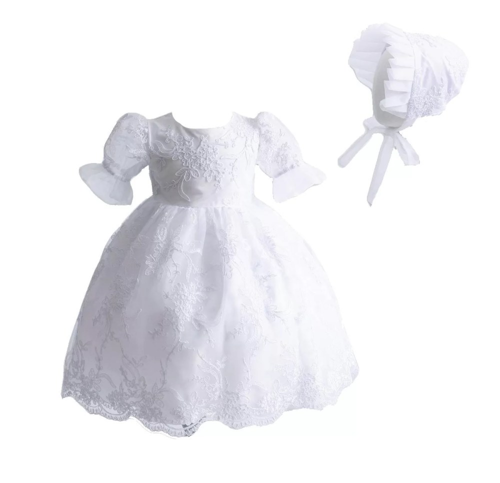 Baby Lace Christening Gown Baptism Gown and Bonnet