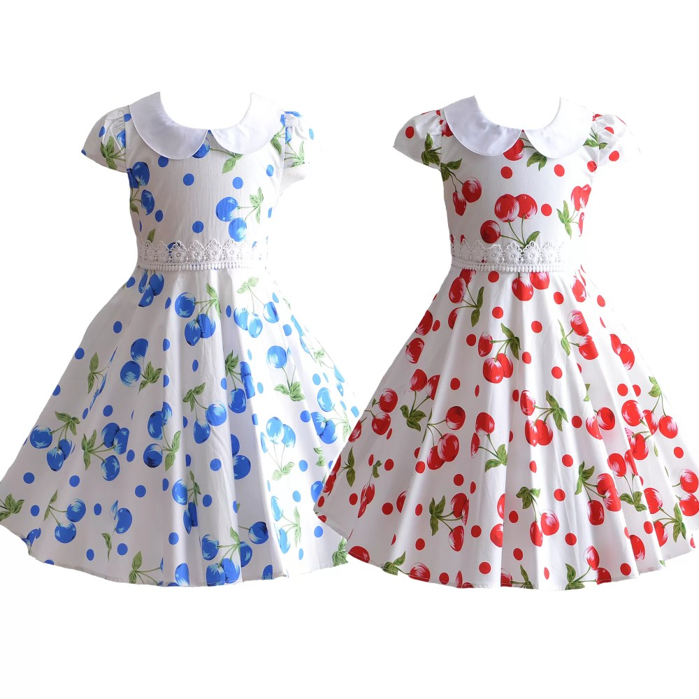 Girls Cherry Summer Cotton Party Dress XL7099