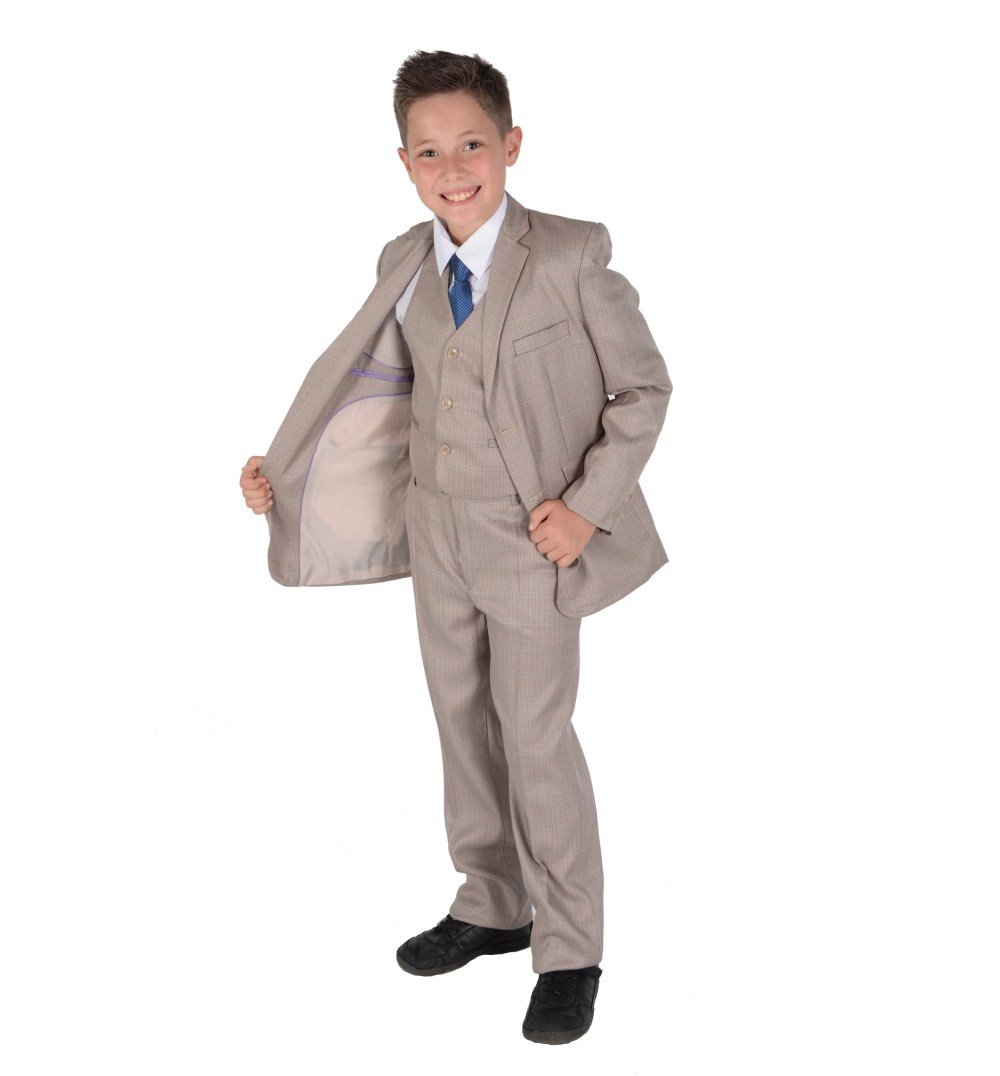 5 Piece Beige Checkered Suit Wedding Suit Prom Page Boy Suit 2-12 Year