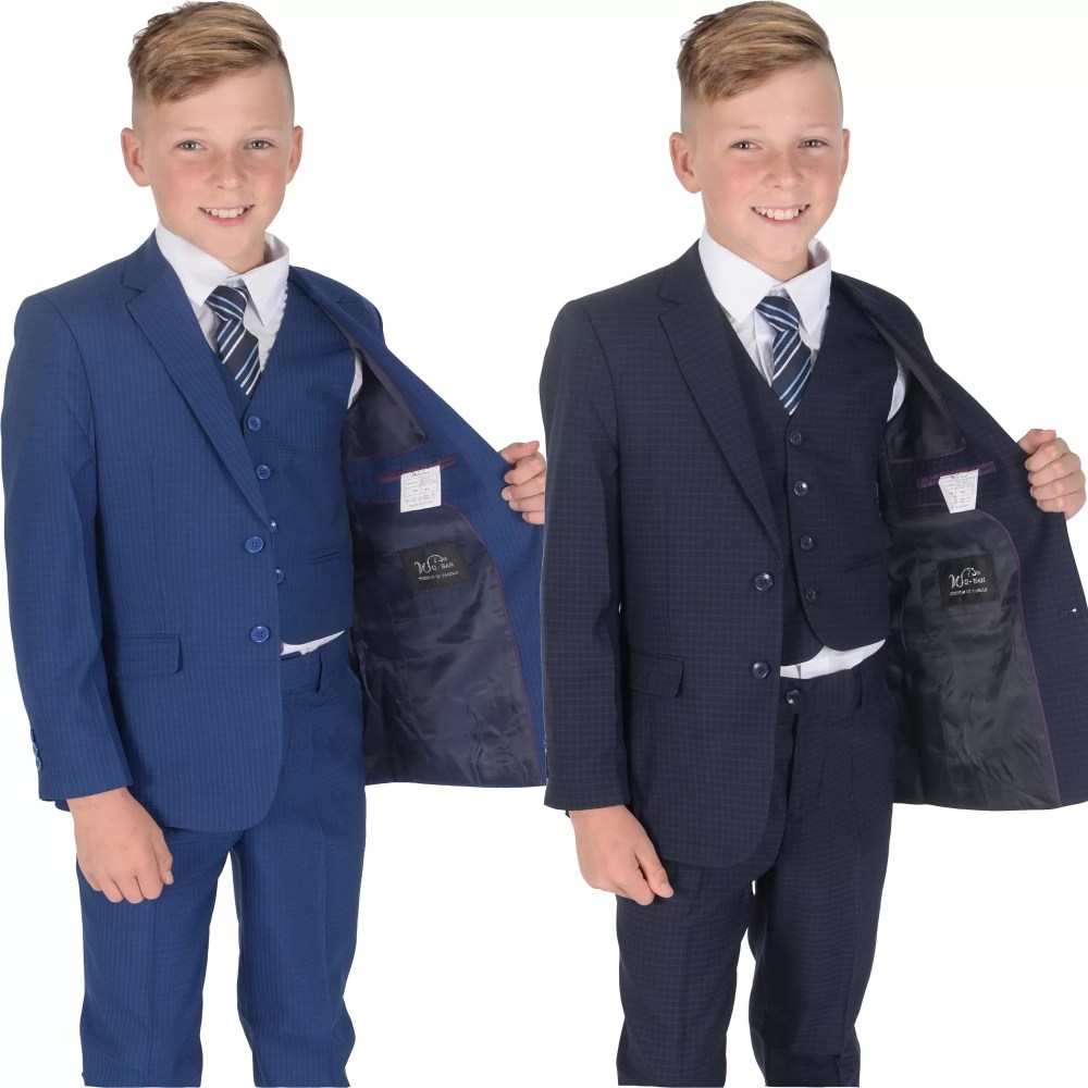 5 Piece Navy Blue Checkered Suit Wedding Suit Prom Page Boy Suit 2-12 Year