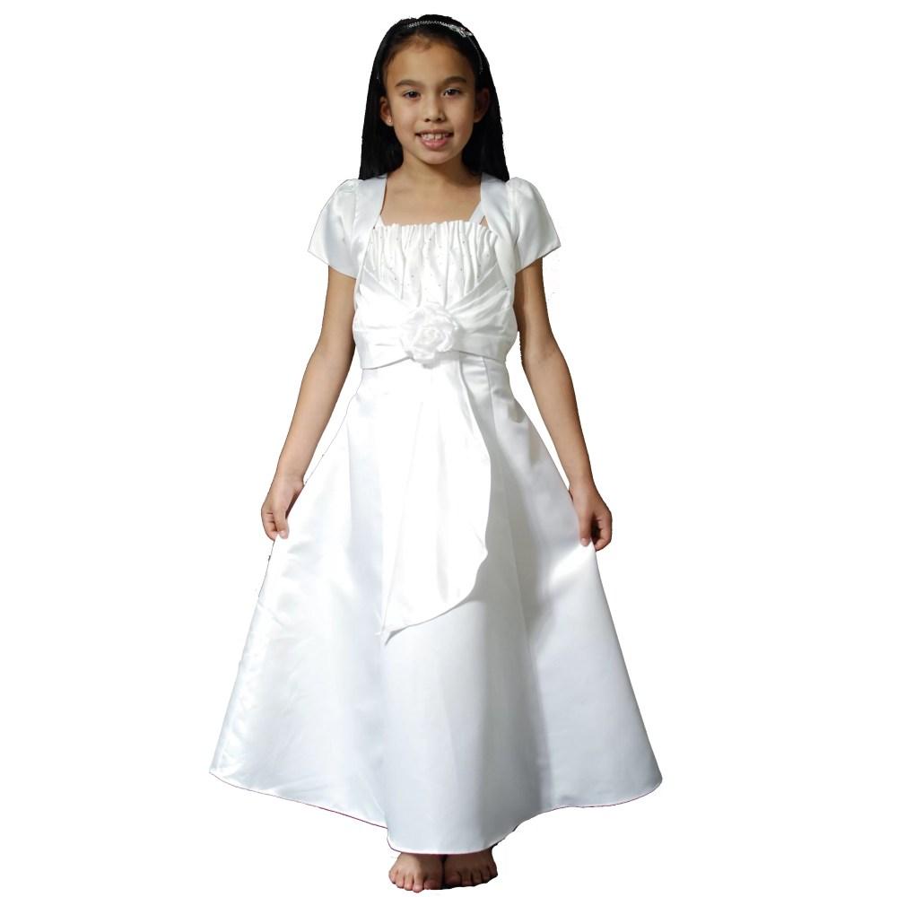 Girls White Satin Holy Communion Dress with bolero ZY4238