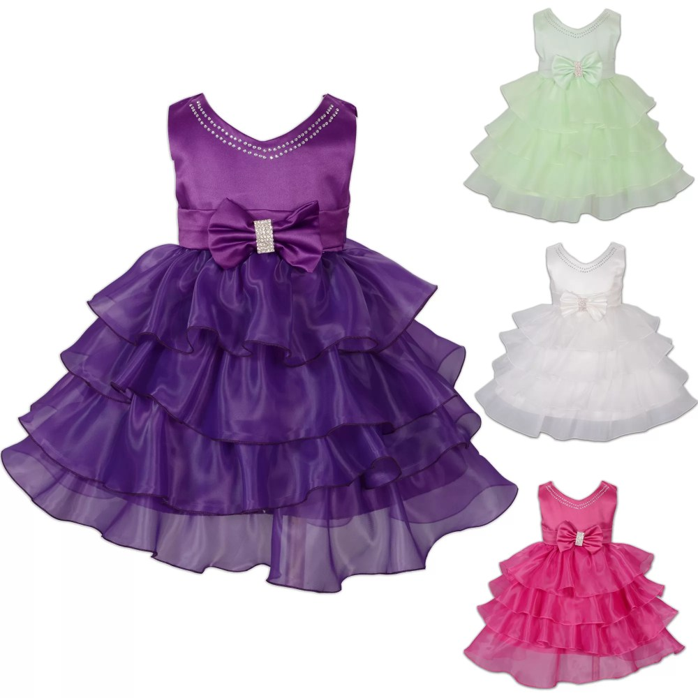 Baby Girls Party Dress Green Hot Pink Purple Ivory 123