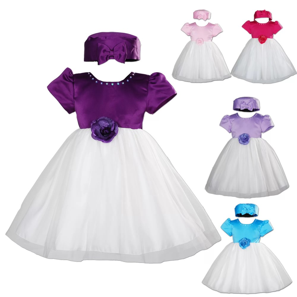 Baby Girls Party Dress with Hat 0-3 3-6 6-9 9-12 12-18 Months
