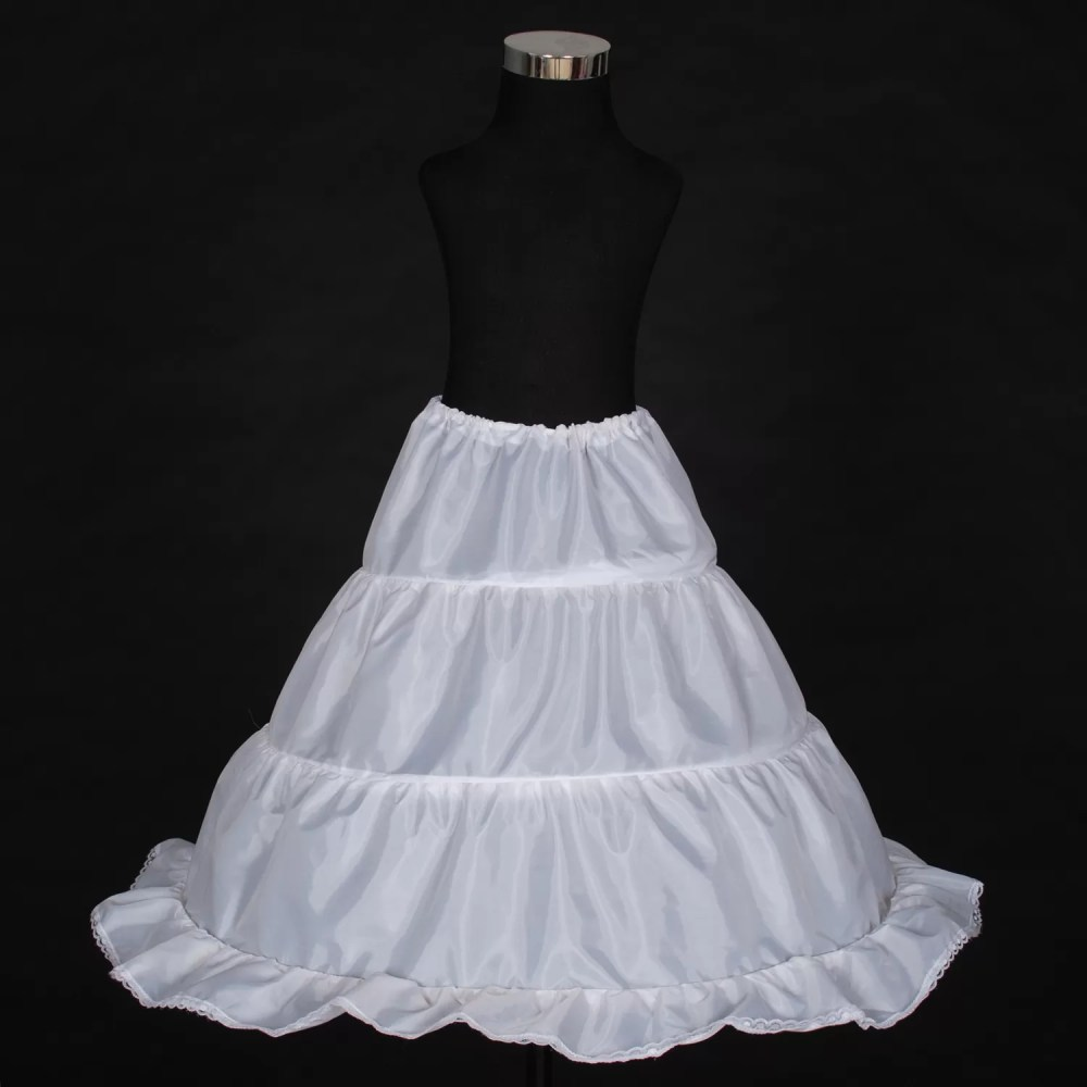 Flower Girl Bridesmaid 1 layer 3 Hoops White Underskirt Petticoat One Size
