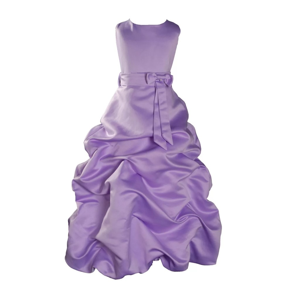 LILAC SATIN FLOWER GIRL DRESS BRIDESMAID DRESS