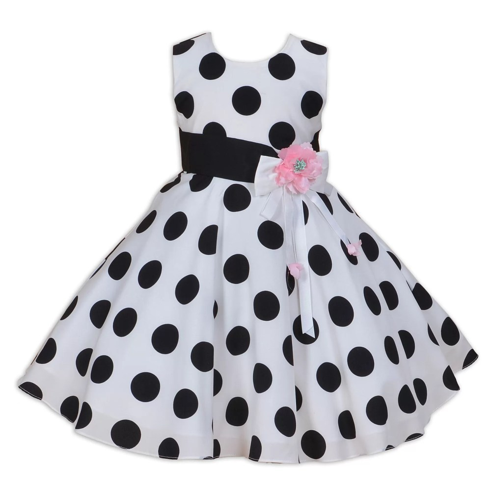 Cinda White and Black Dotted Dress