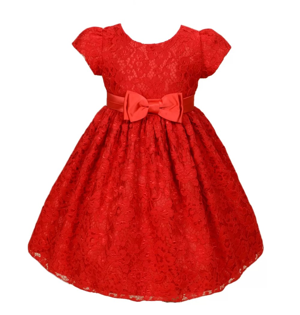 Girls Floral Party Dress Ivory Red 3-9 Years