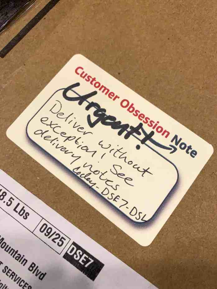 Urgent Amazon Box Label