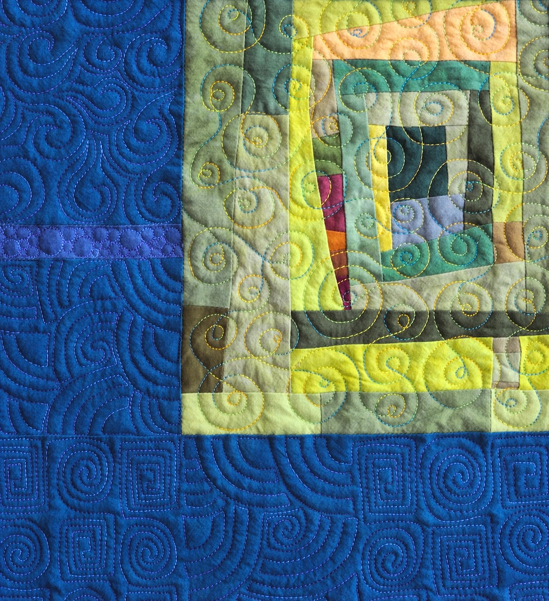Detail of Journeys End art quilt with stitching - Cindy Grisdela