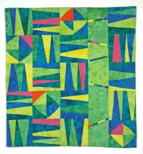 A Little Citrus Art Quilt in lime green and blue - Cindy Grisdela