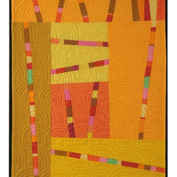 Bright Lines Art Quilt in Yellow and Orange - Cindy Grisdela