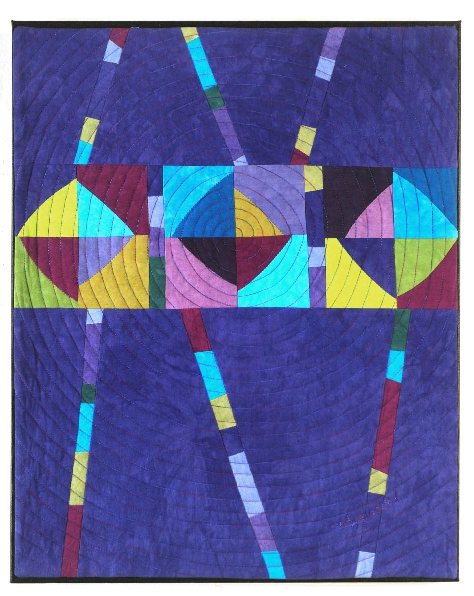 Carousel - art quilt with blue circles - Cindy Grisdela