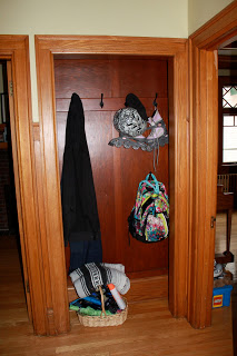 Before: Exposed coat storage in 2nd alcove (this actually looks better than usual as clutter is minimal with the kids at camp!)