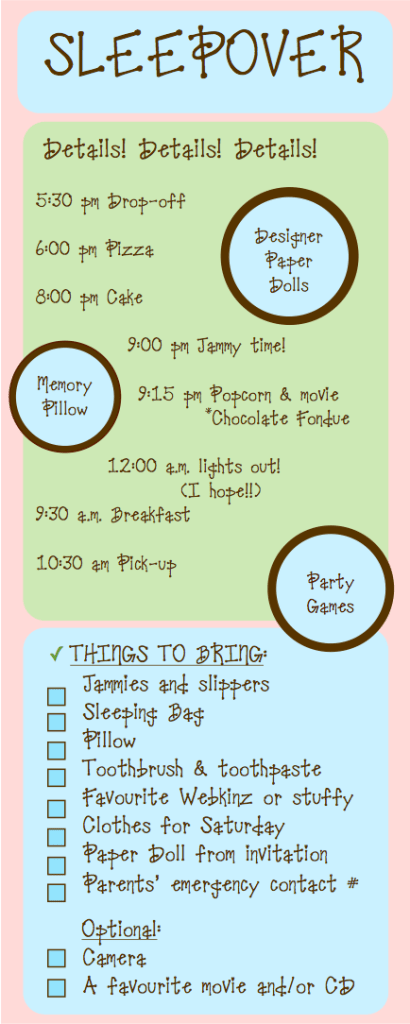 Sleepover Party Brochure