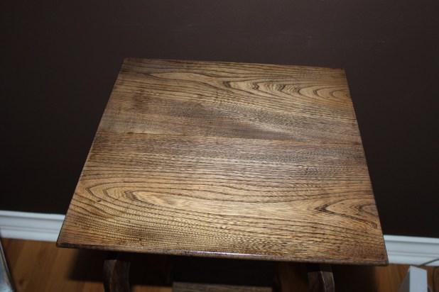 refinished oak side table