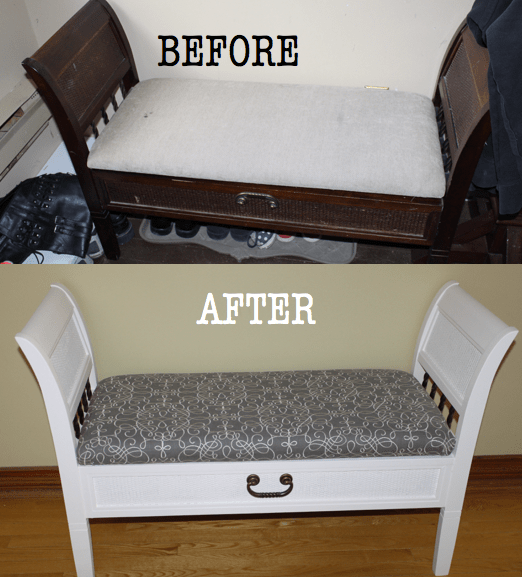 Before and After upcycled storage bench