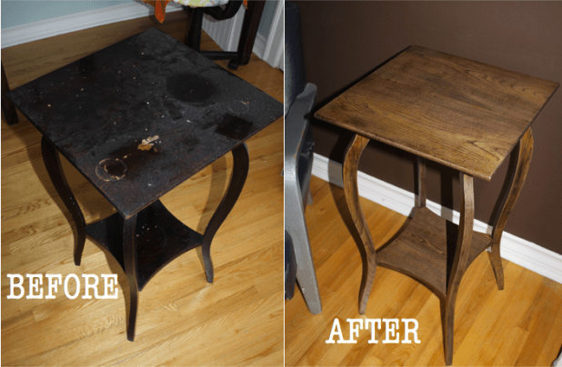 refinished oak side table