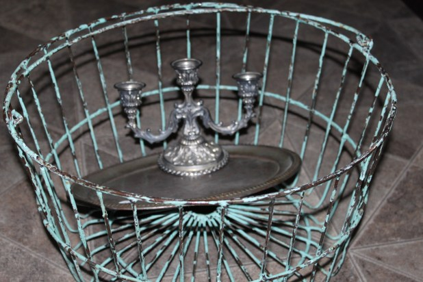 Antique Metal Basket upcycle