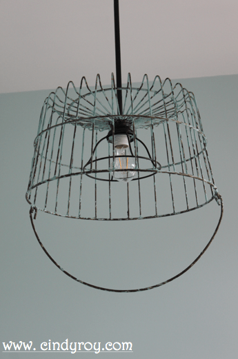Upcycled Vintage Basket Light Fixture