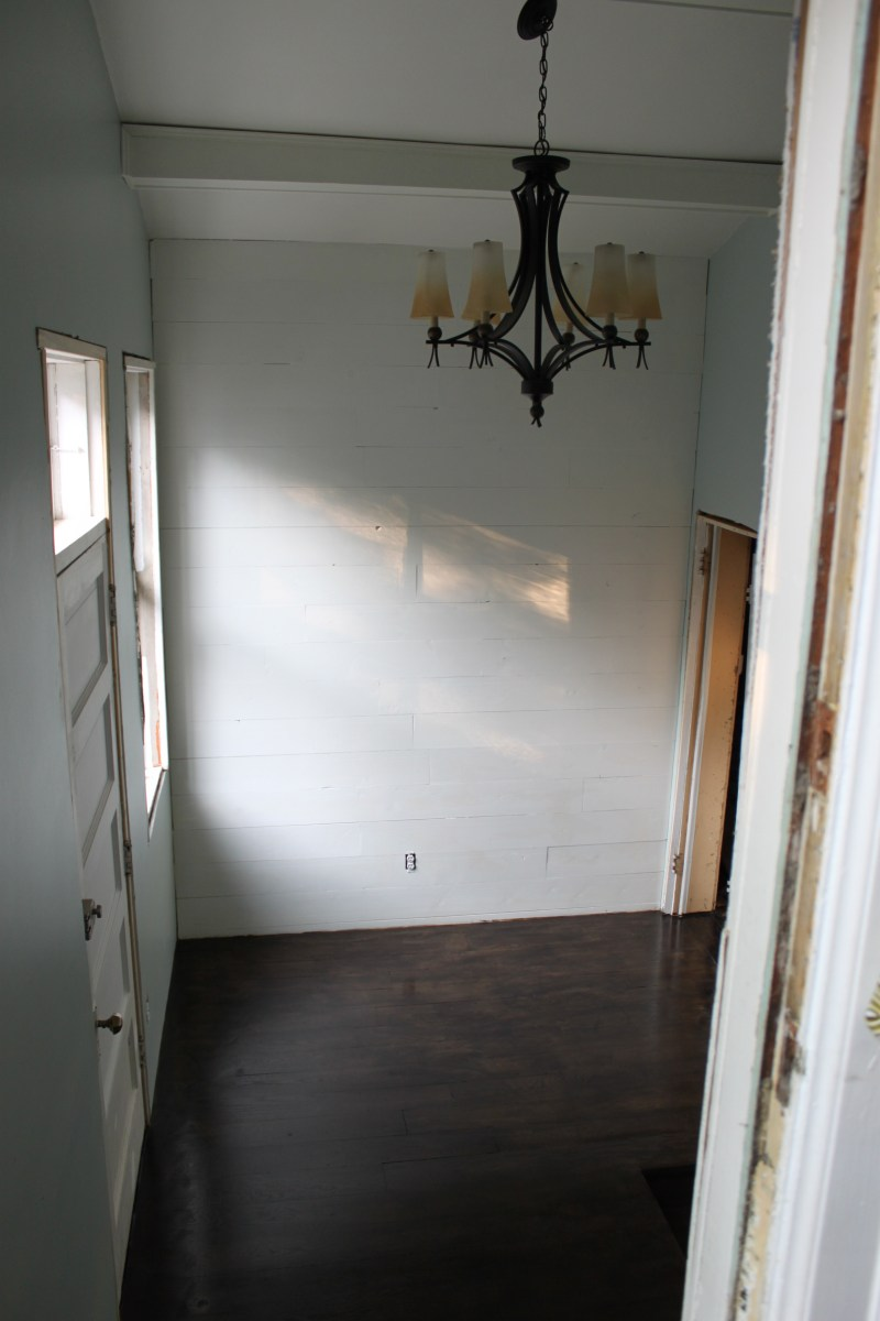 Primed and painted feature wall