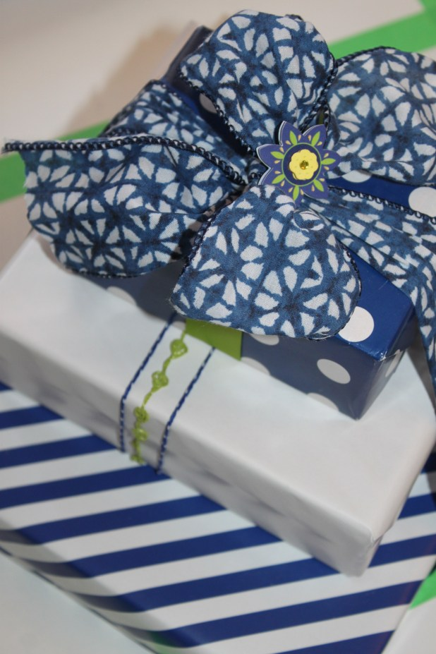 Blue White and Green Stack of Coordinated Gift Wrap