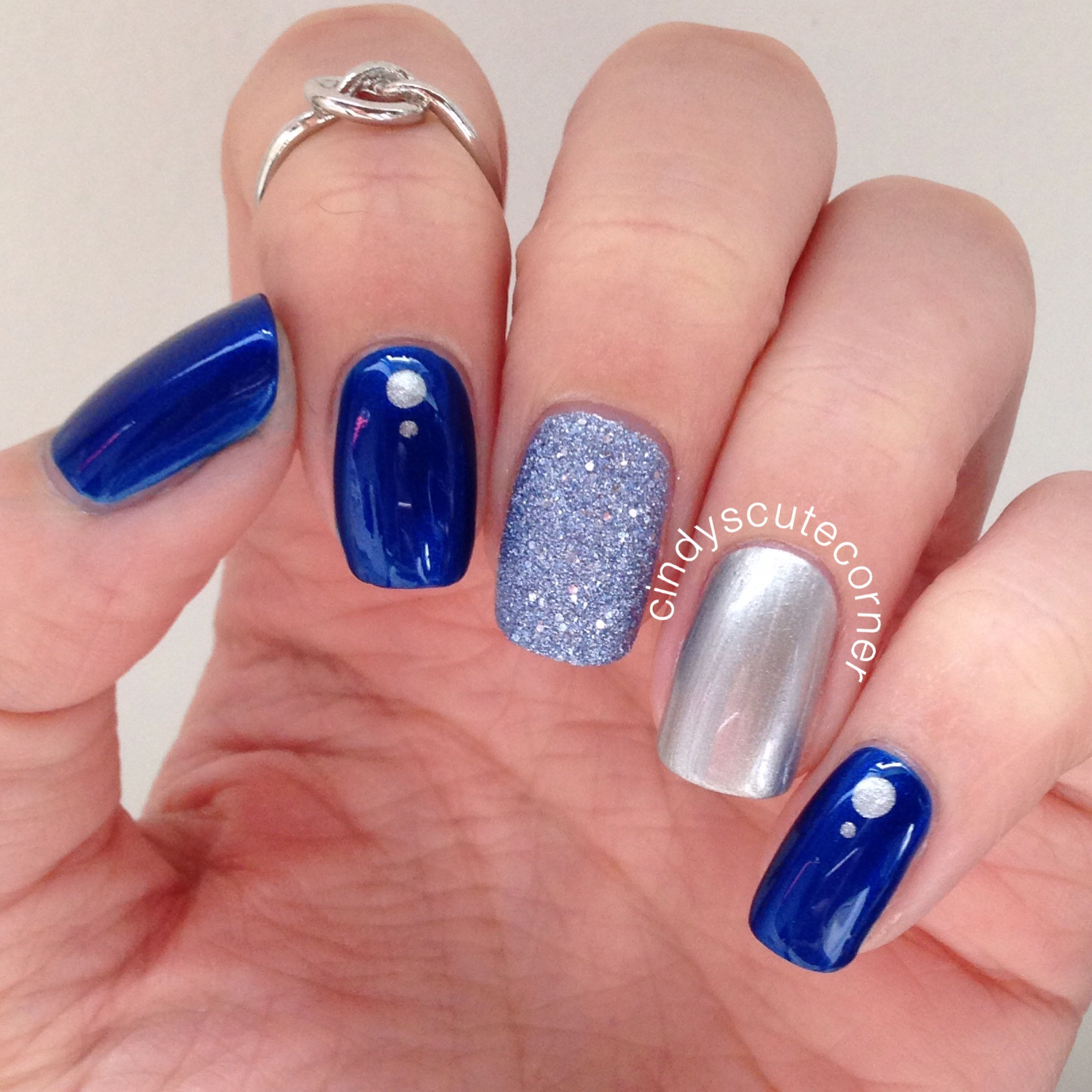 Pink and silver nails - Blue And Silver Nails